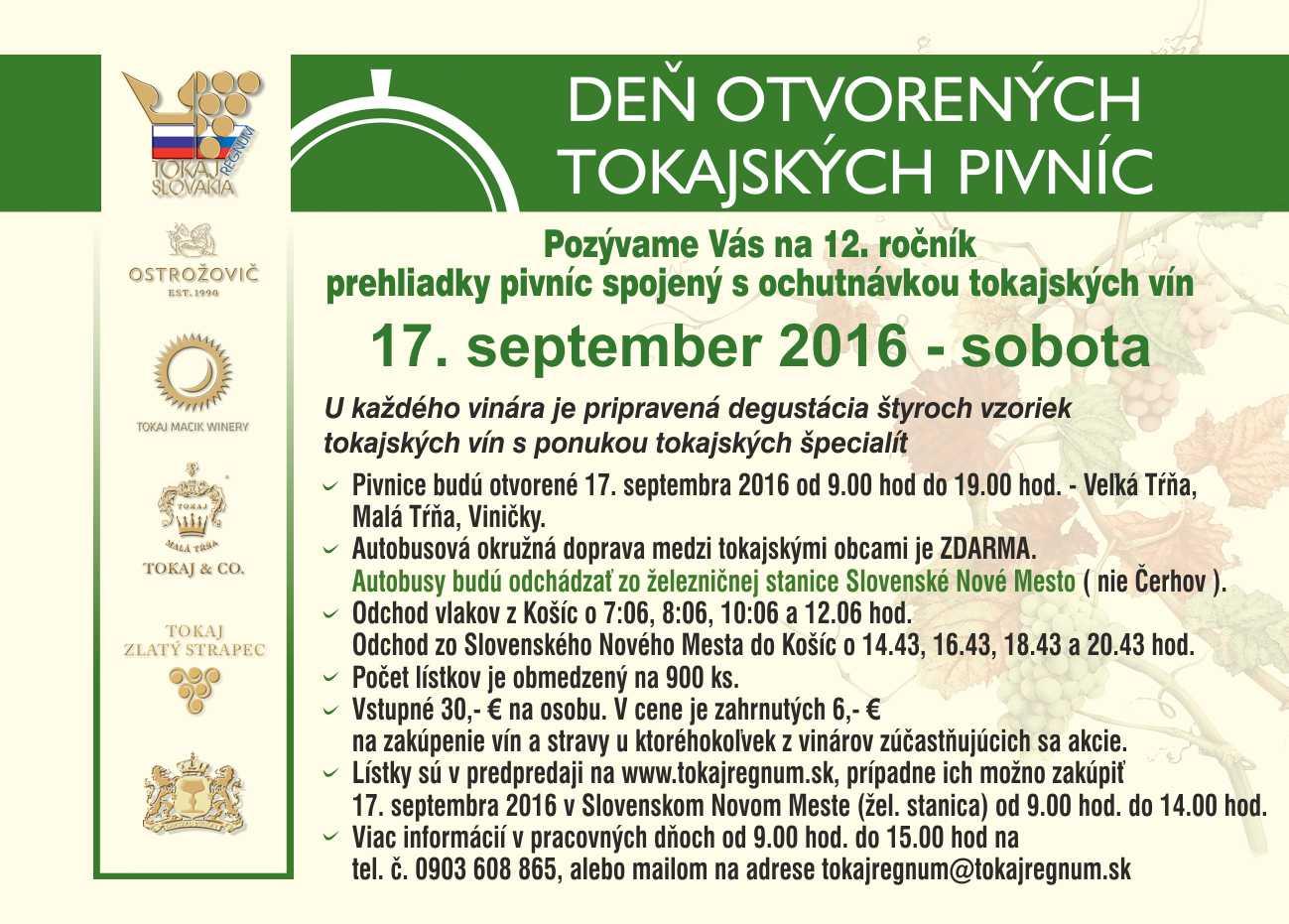 Deň otvorených tokajských pivníc 2016